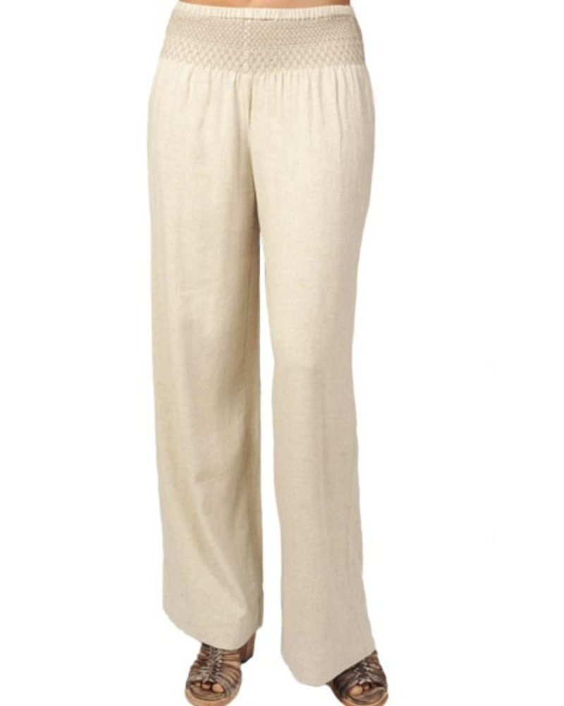 Ivy Jane's Wide Leg Smocked Waist Pant In Natural