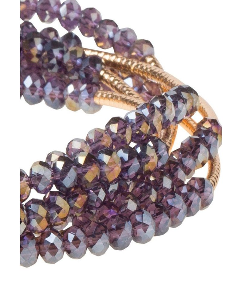 Scout Wrap Bracelet Or Necklace In Amethyst & Gold