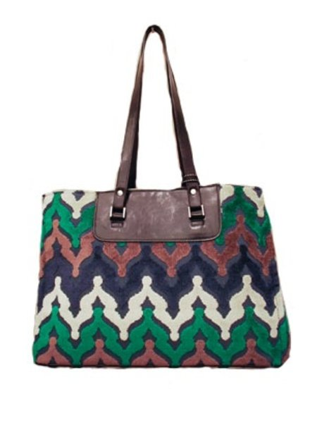 Glenda Gies Designer Handbag,The Gigi In Pippa Chenille of Navy, Emerald Green and Ivory