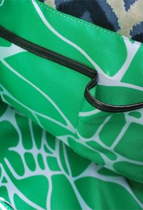 Glenda Gies Designer Handbag,The Gigi In Pippa Chenille of Navy, Emerald Green and Ivory