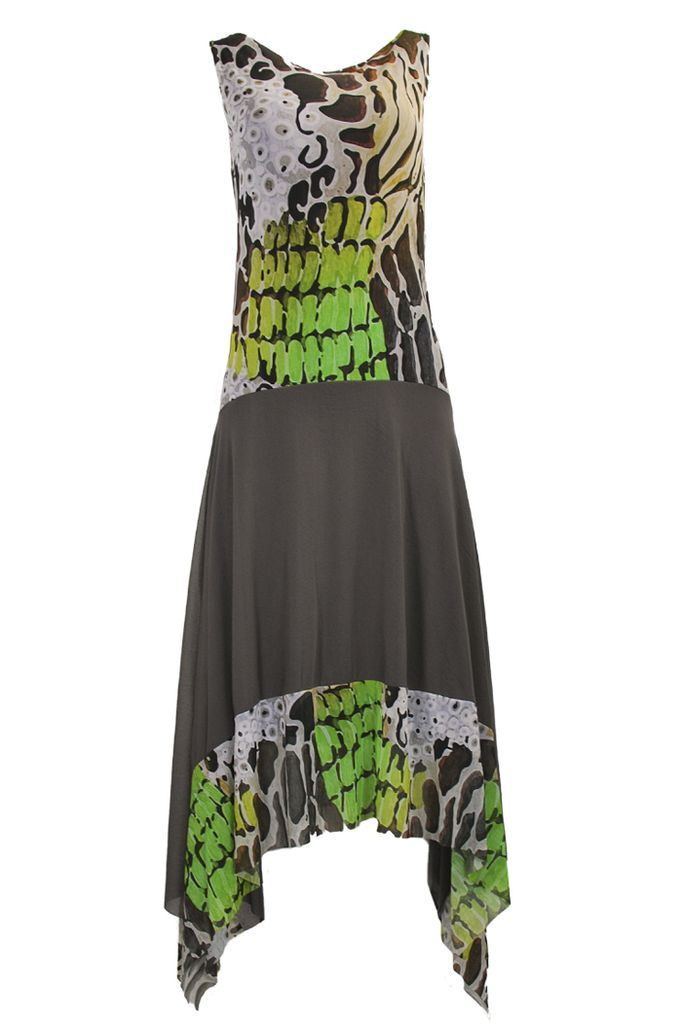 Petit Pois Flair Dress In River Stone