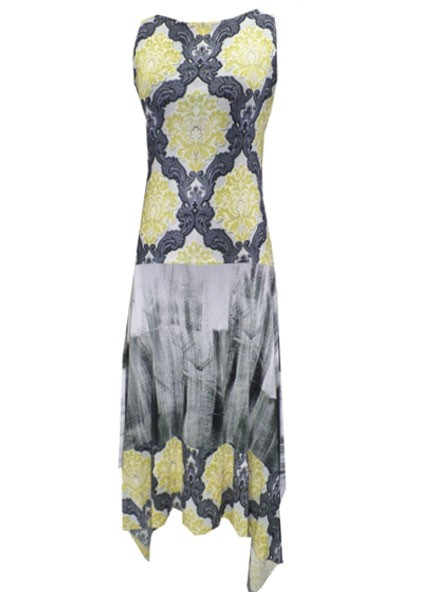 Petit Pois' Boat Neck Printed Dress In Golden Island