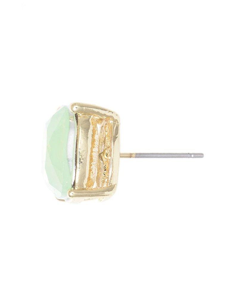 Chic Giant Crystal Stud Earrings In Green Opal