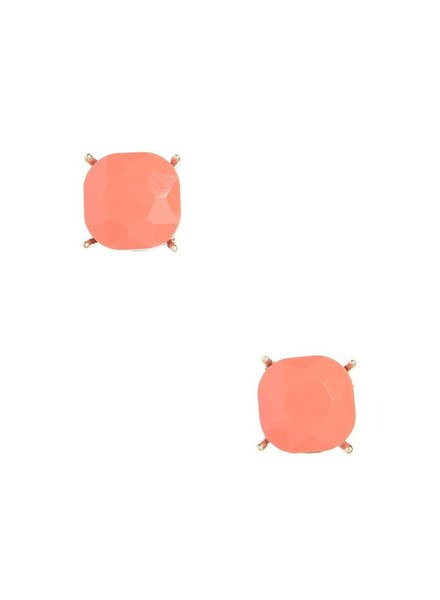 Chic Giant Crystal Stud Earrings In Coral