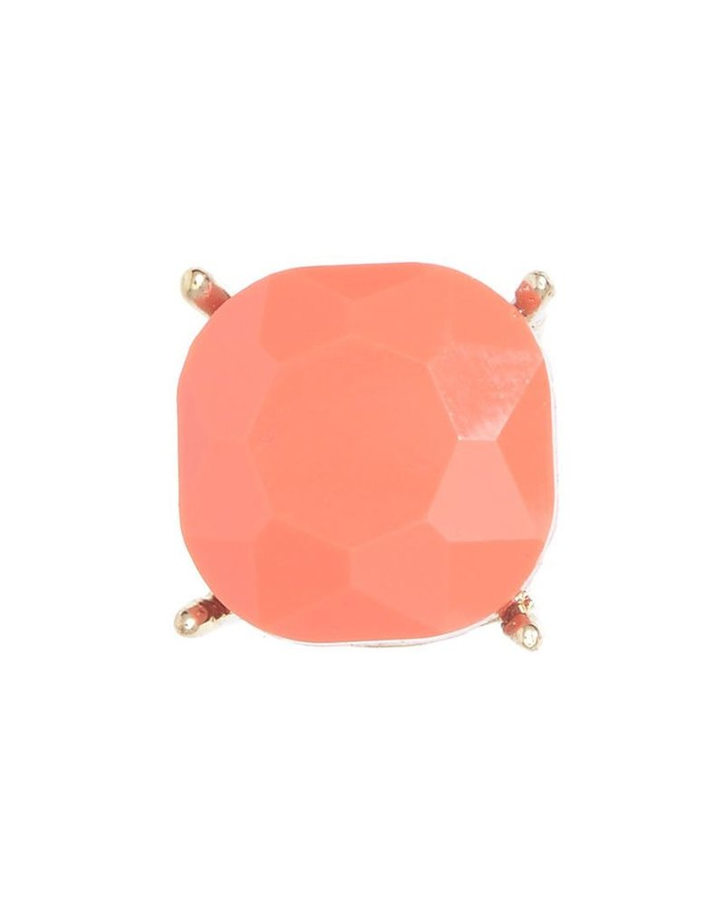 Chic Giant Crystal Stud Earrings In Coral