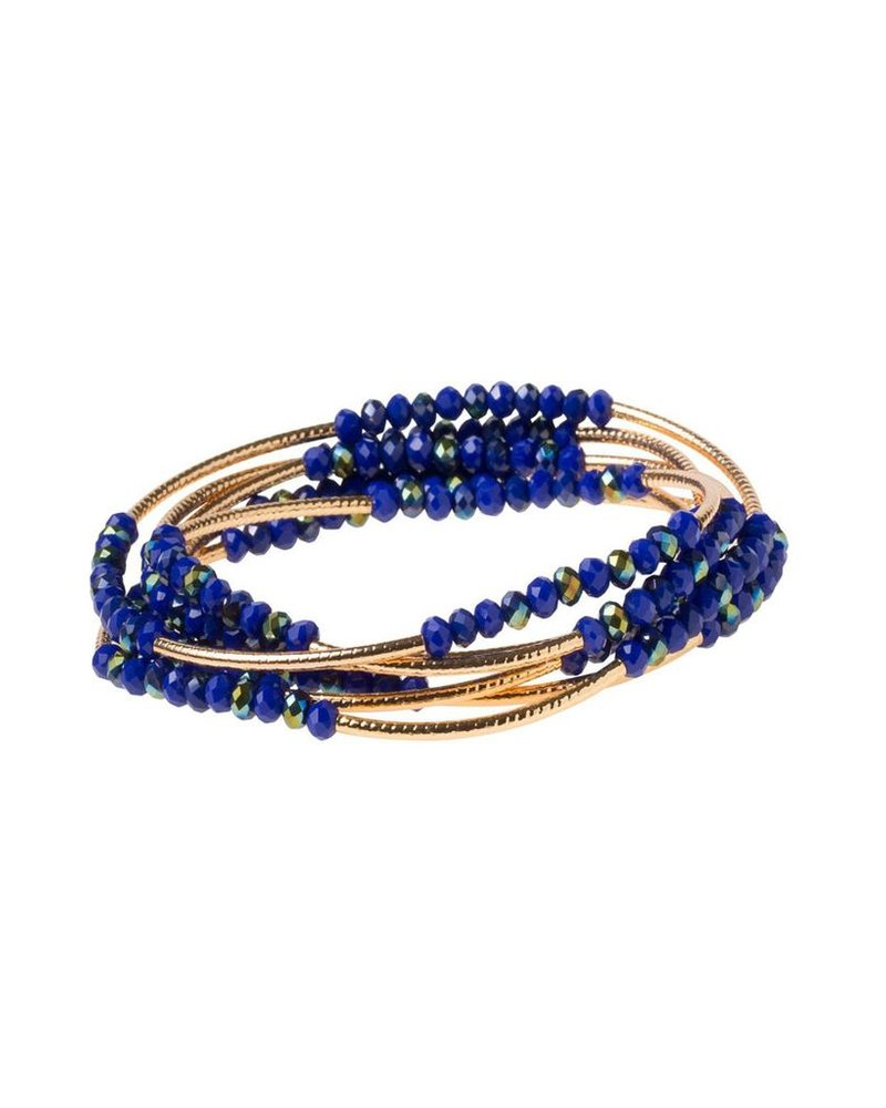 Scout Wrap Bracelet Or Necklace In Cobalt & Gold