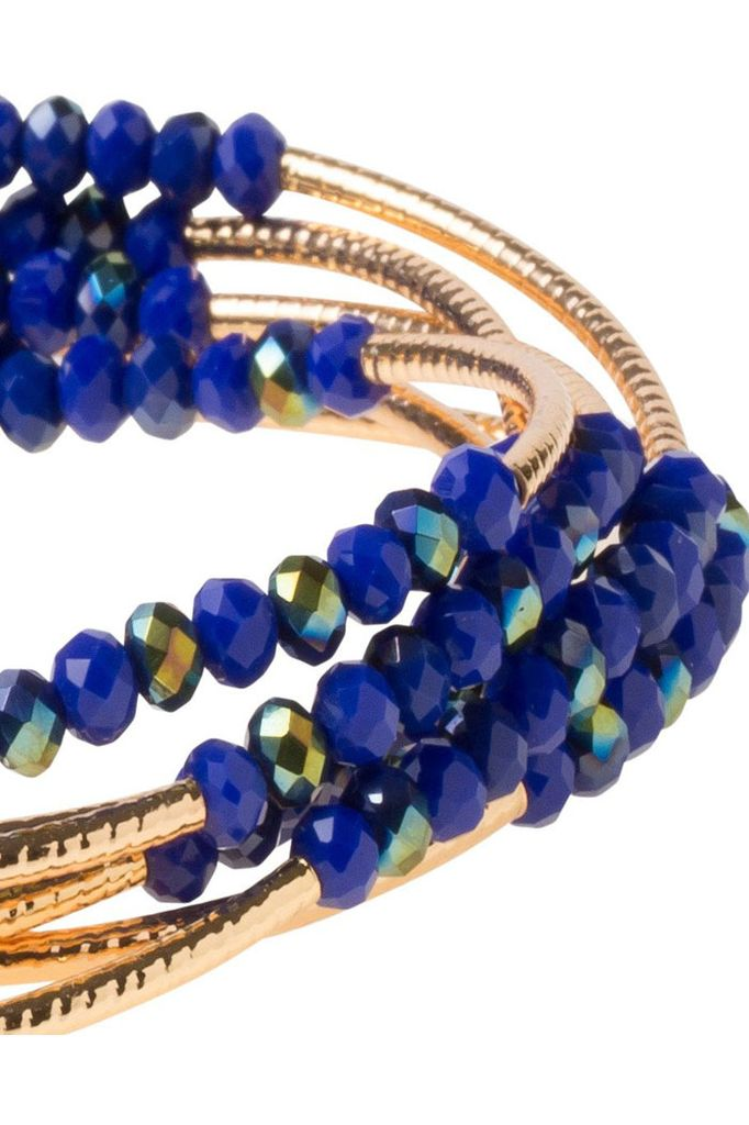 Scout Wrap Bracelet Or Necklace In Cobalt & Gold