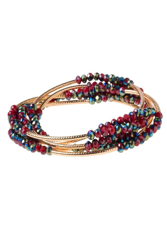 Scout Wrap Bracelet Or Necklace In Garnet & Gold