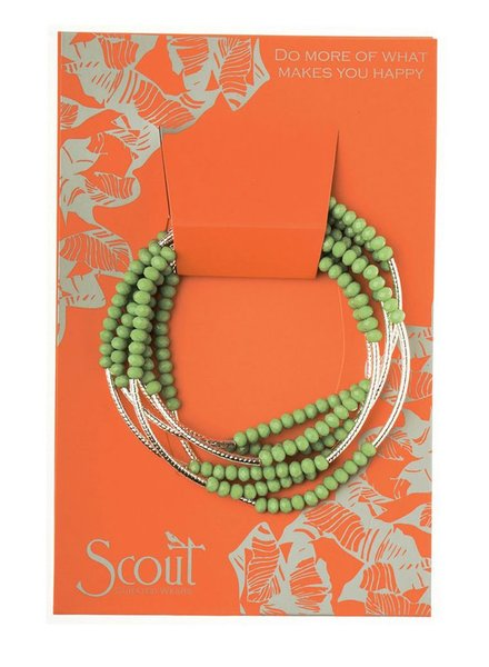 Scout Wrap Bracelet Or Necklace In Green & Silver