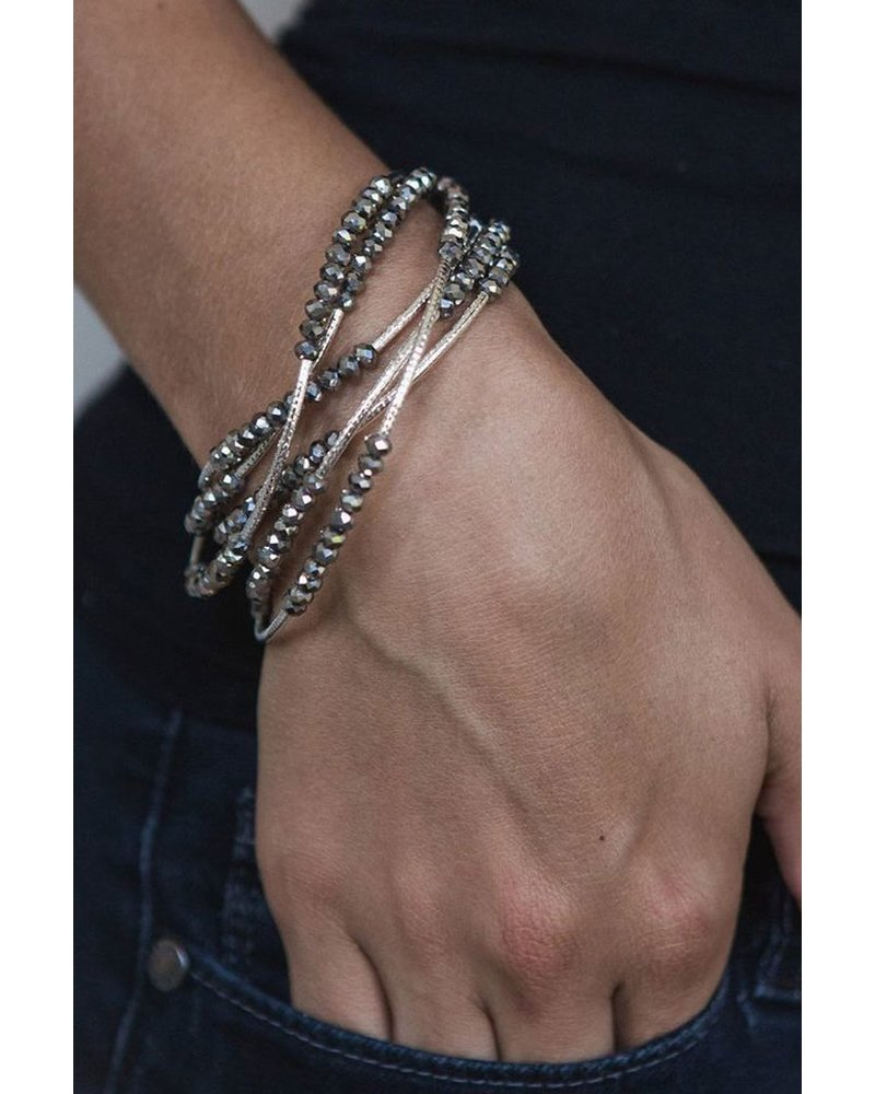 Scout Wrap Bracelet Or Necklace In Periwinkle & Silver