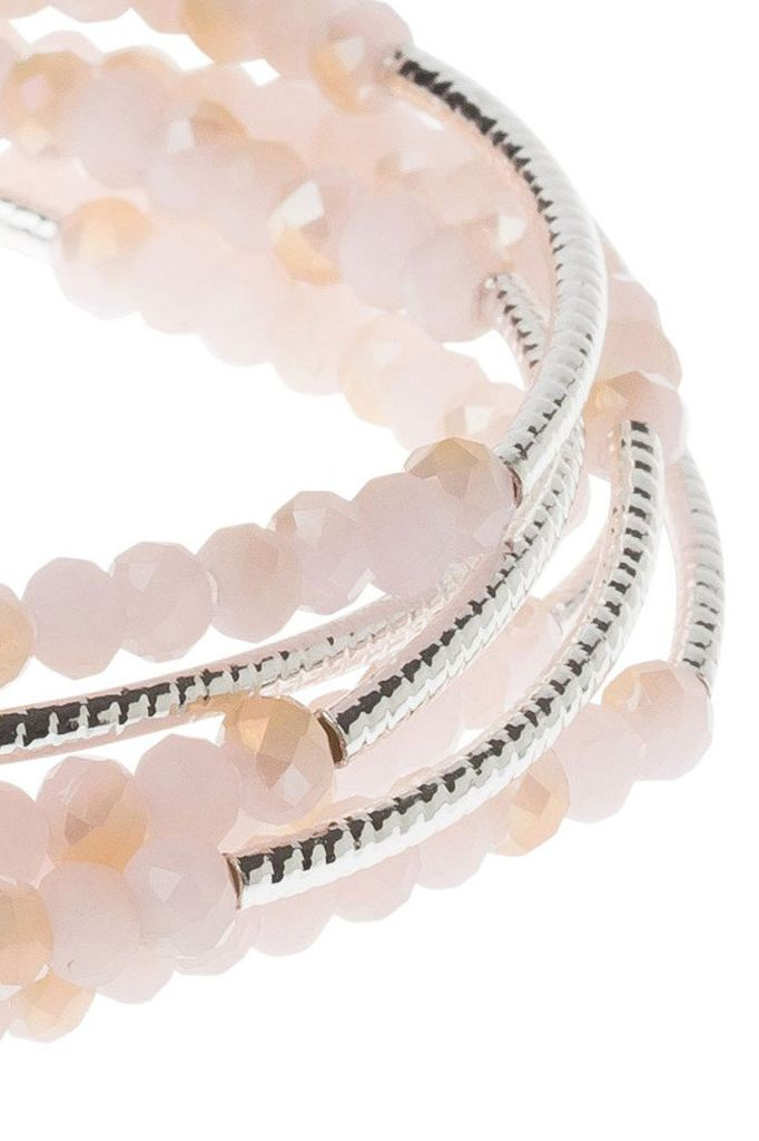 Scout Wrap Bracelet Or Necklace In Pink & Sliver