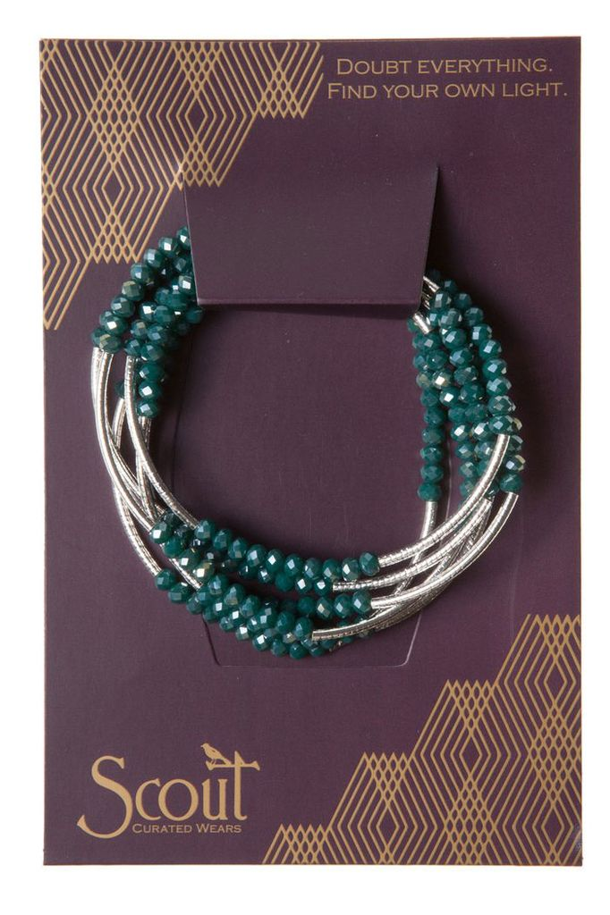 Scout Wrap Bracelet Or Necklace In Teal & Silver