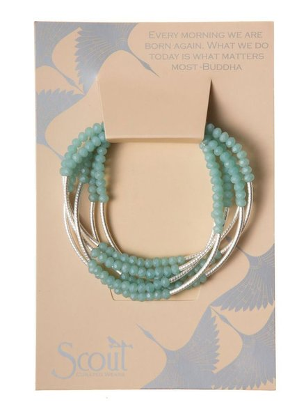 Scout Wrap Bracelet Or Necklace In Turquoise & Matte Silver