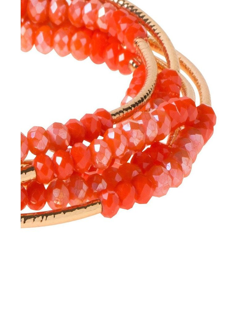 Scout Wrap Bracelet Ot Necklace In Coral & Gold