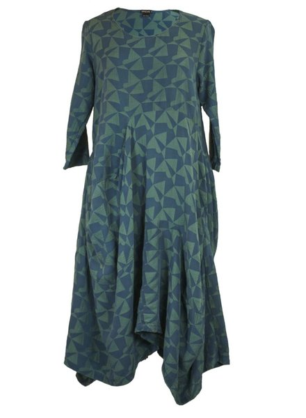 Griza's Geo Dress In Blue & Green