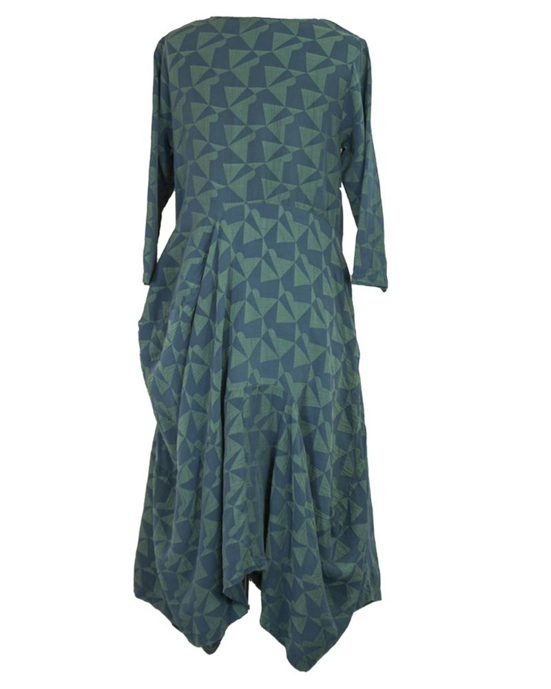 Griza's Geo Dress In Blue & Green