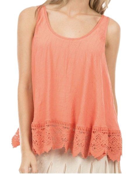 Crochet Flair Tank In Orange