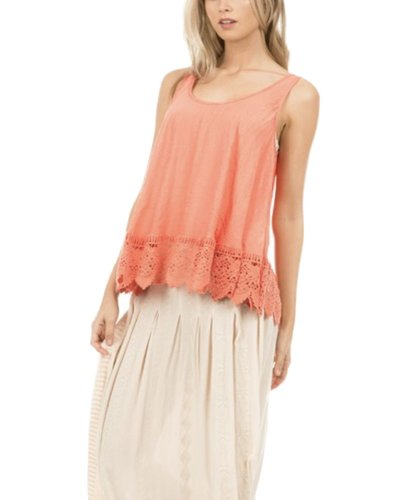 Crochet Flair Tank In Orange
