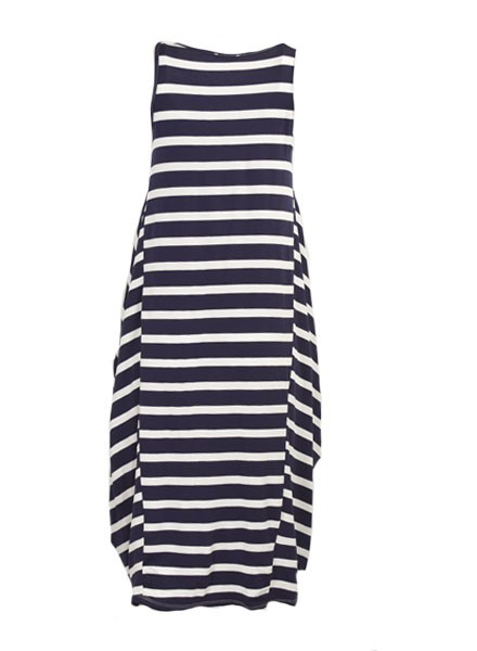 On The Yacht Dress In Navy & White