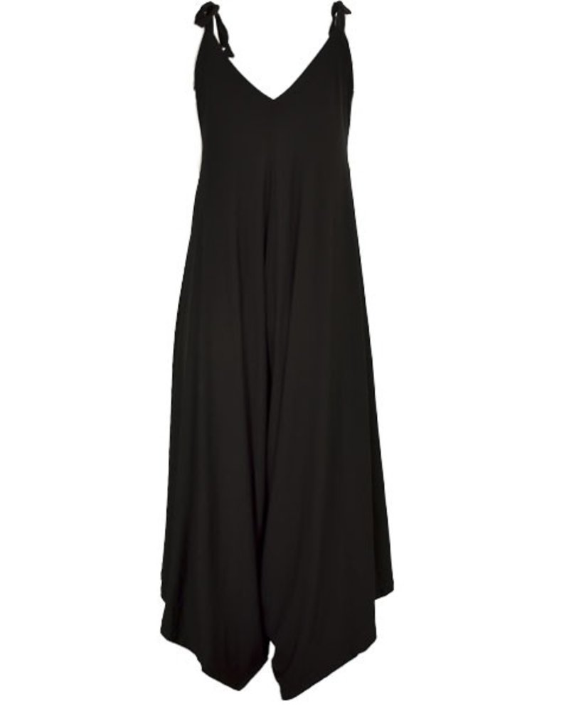 Draped In Cool Black Jumpsuit