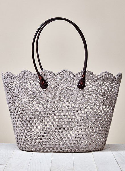 Croched Lace Tote Bag In Taupe