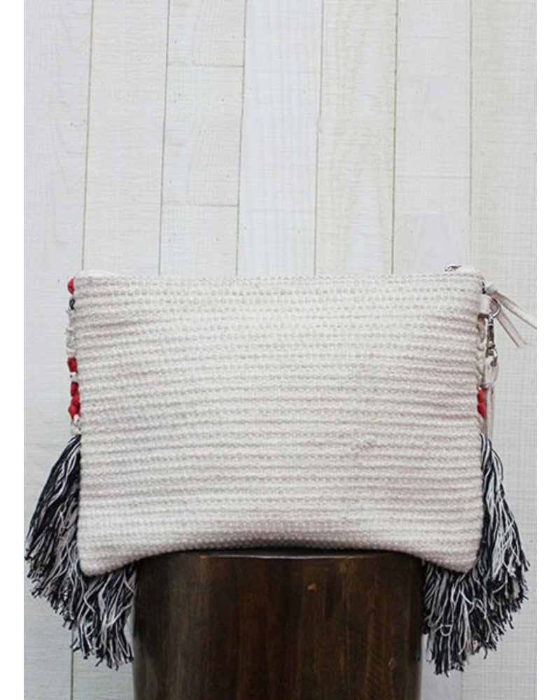Woven Tribal Fringed Clutch