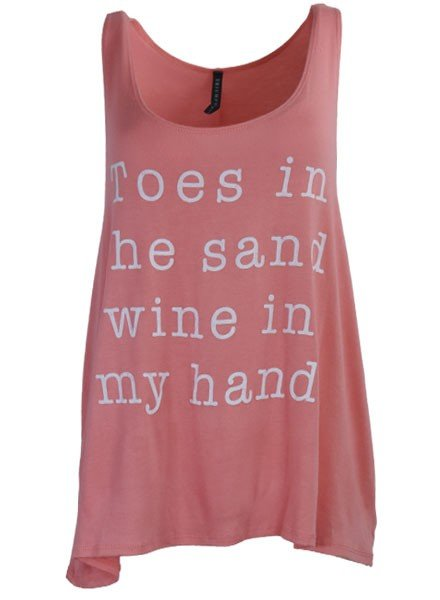 Wine & Sand Tank Top In Coral