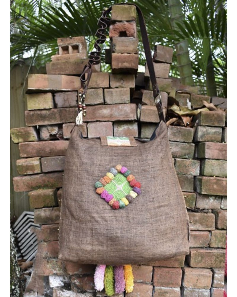 Brown Hill Tribe Bag with Leather Strap