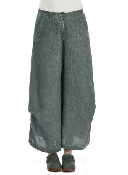 Grizas' Wide Linen Trouser In Sea Green