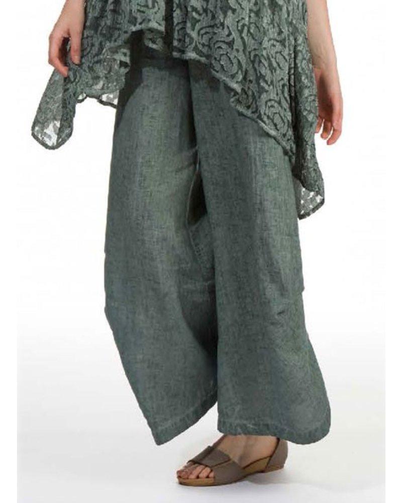 Grizas' Wide Linen Trouser In Sea Green