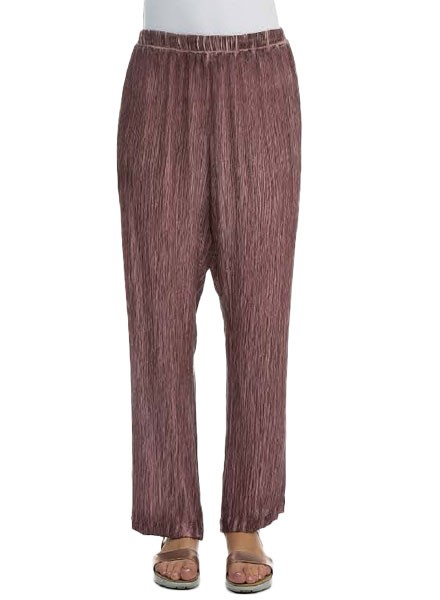 Grizas' Washed Silk Crinkle Pant In Maroon