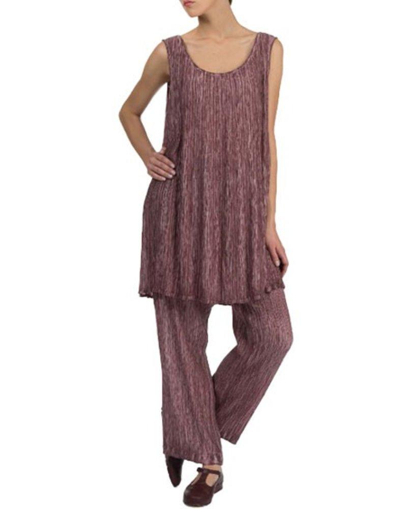 Grizas' Washed Silk Crinkle Pant In Maroon