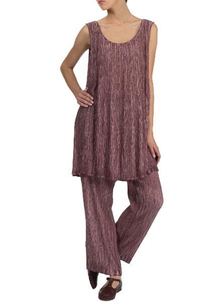 Grizas' Washed Silk Crinkle Tunic In Maroon