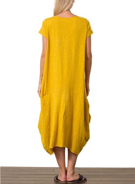 Bubble Midi Dress In Mustard