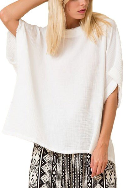 Soft Gauze Square Top In White