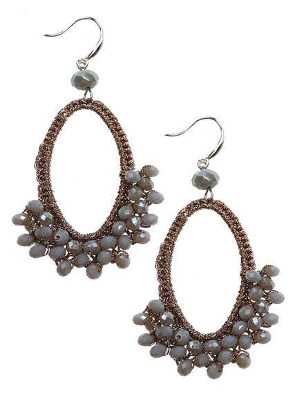 Teardrop Mesh Earrings With Grey Beads