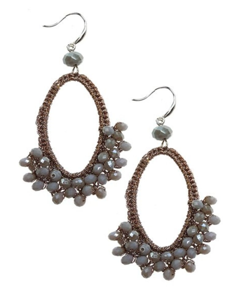 Teardrop Mesh Earrings With Grey Beads