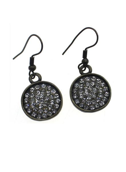 Small Encrusted Antiqued Earrings In Clear