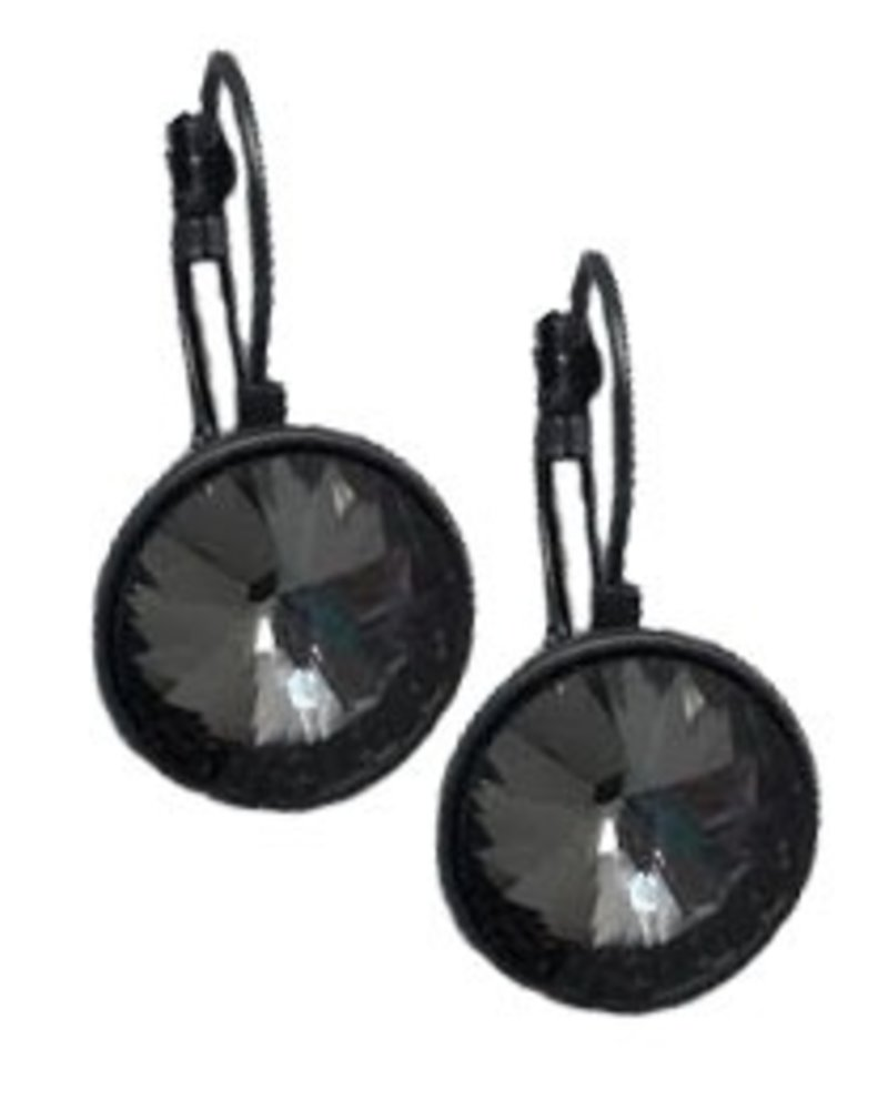 Gun Metal & Black Crystal Drop Earrings
