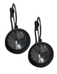 Gun Metal & Black Crystal Drop Earrings