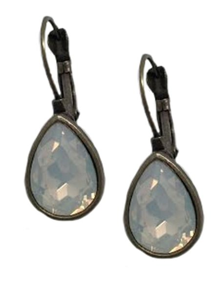 Antiqued Bronze Teardrop With Milky Opal