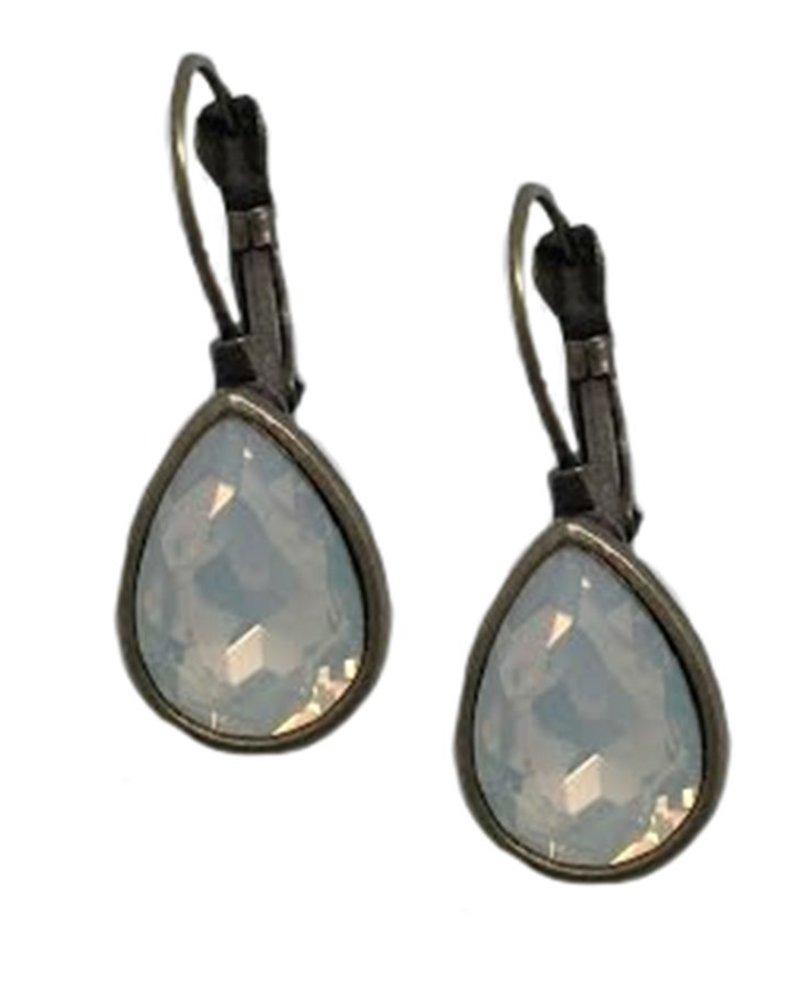Antiqued Bronze Teardrop With Milky Opal