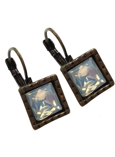 Square Antiqued Bronze With Milky Opal