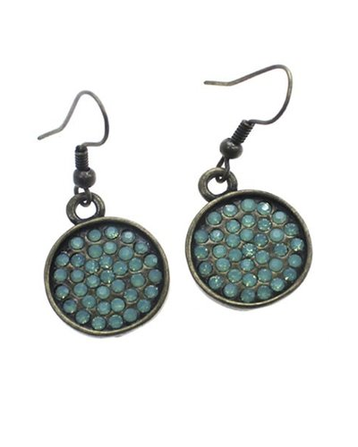 Small Encrusted Antiqued Earrings In Pacific Opal