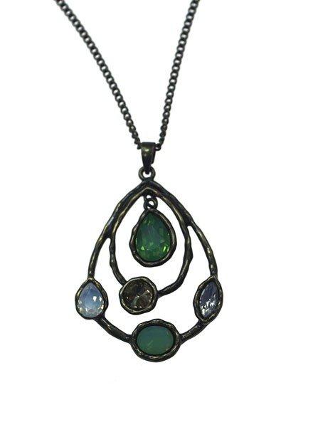 Antiqued Bronze Mixed Teardrop Necklace