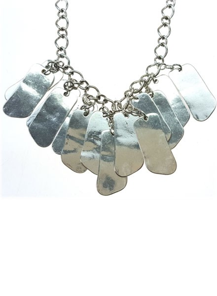Antiqued Silver Rectangle Drops