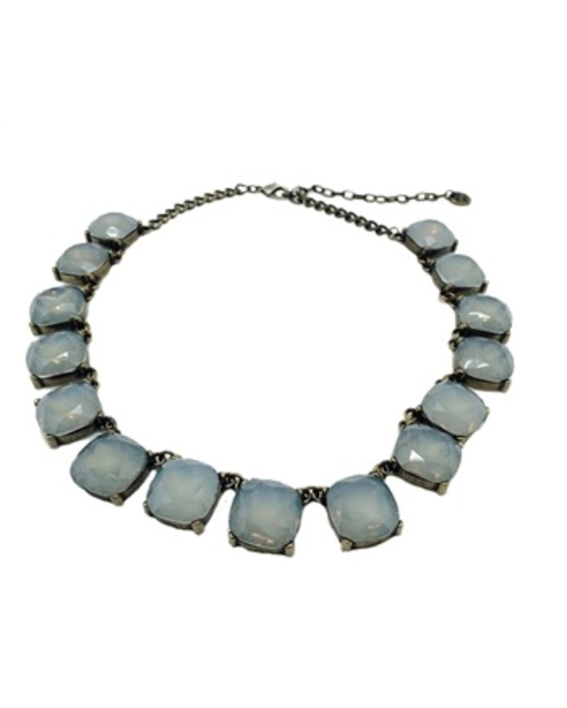 My Square Jeweled Necklace In Milky Grey Crystals