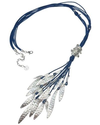 Blue Leather & Matte Silver Drops Necklace