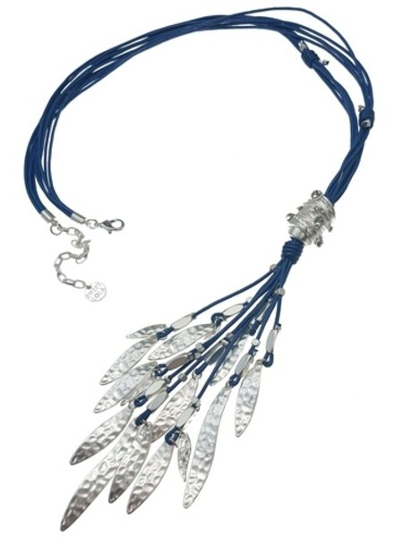 Blue Leather & Matte Silver Drops Necklace