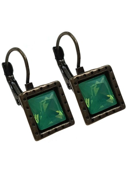 Square Antiqued Bronze With Pacific Opal